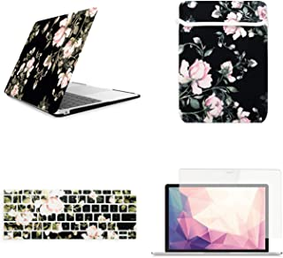 TOP CASE MacBook Air 13 Inch Case A1932 with Retina Display fits Touch ID 2019 2018 Release, 4 in 1 Essential Bundle Victorian Pattern Hard Case+Keyboard Cover+Sleeve+Screen Protector, Black