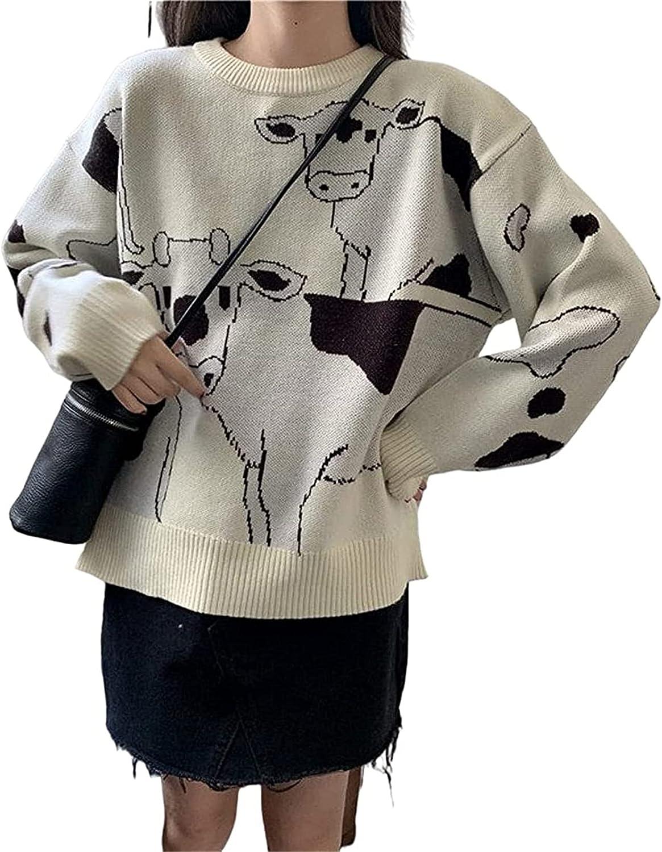Women Knitted Oversized Sweater Preppy Style Y2k Long Sleeve Skull Printing Casual Sweatshirt Top Streetwear