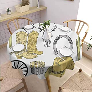 Tassel Round Tablecloth Western,Cowboy Rodeo Accessories Skull Lasso Hat Vintage Wheel Horseshoe,Pale Brown Black Pale Grey Holiday Dinner Picnic Kitchen D66