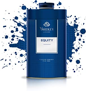 Yardley Equity Perfumed Talcum Body Powder, masculine, all day fragrance - 150 gm