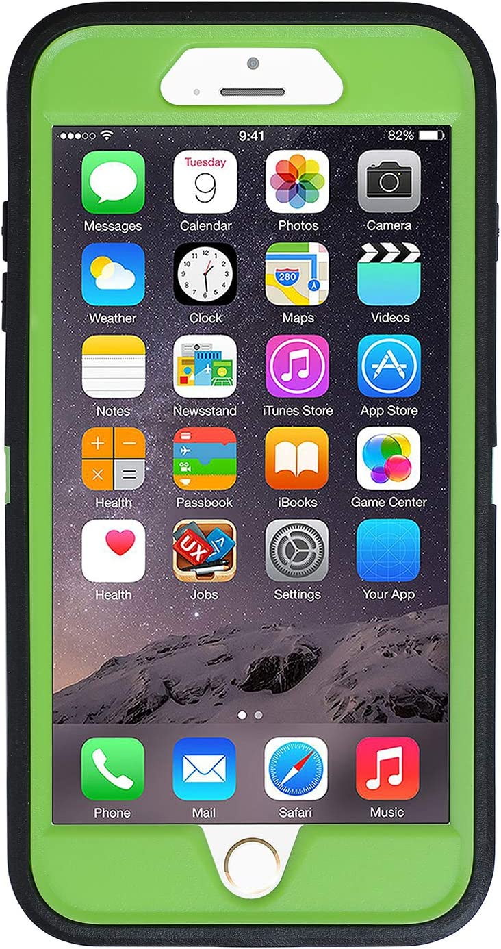 Co-Goldguard Case iPhone 7 Heavy Duty iPhone 8 Case Durable 3 in 1 Hard Cover Dust-Proof Shockproof Drop-Proof Scratch-Resistant Shell (Black Green)
