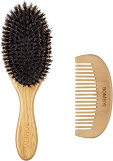 BOMEIYI 100% Boar Bristle Hair Brush Set,Set for Women Mens Kids,Designed for Thin and Normal Hair,Makes Hair Shiny and Im...