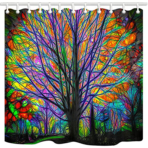 """NYMB Creative Trees Decoration Bath Curtain, Colorful Watercolor Spring Life Tree Shower Curtain, Life of Tree Fabric Shower Curtains for Bathroom, Hooks Included, (69"""" WX70 H)"""