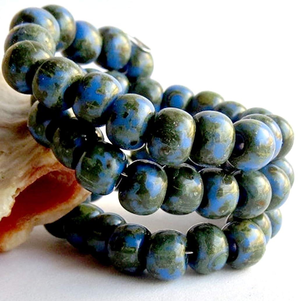 20 g Blue Picasso Travertine 3/0 Czech Glass Seed Beads