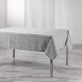 nappe rectangle 150 x 240 cm polyester imprime metallise domea gris/argent