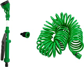 SpigotKing Coiled Garden Hose,5 Pattern Spray Nozzle Plus Quick Connect BONUS- Flexible Water Hose, Retractable - Expanding, No Kink Hose, Best For Yard, RV, Gardening Gifts – Shrinking, 50ft Hose Kit