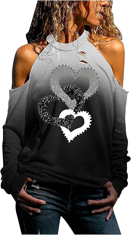 Women Fall Off Shoulder Sweatshirt, Elegant Ovesize Halter Blouse Cute Heart Graphic Hole Tunic Tops T-Shirt Pullover