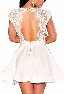 Zeagoo Women's V Neck Lace Floral Open Back Skater Cocktail Wedding Party Dress