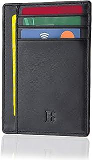 Portafoglio BRONZI® Portafoglio Uomo Piccolo Sottile Slim Elegante - Blocco RFID - Nero Pelle Alta Qualità - Mini Porta Te...