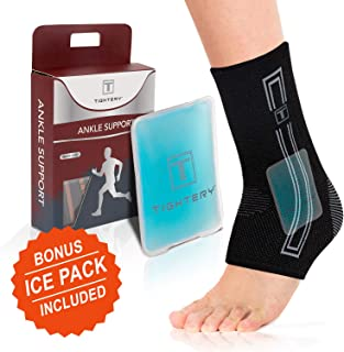 Tightery,  Ankle Brace Compression Support Sleeve (Pair) for Injury Recovery,  Joint Pain and More. Plantar Fasciitis Foot Socks with Arch Support (Gray,  Large)