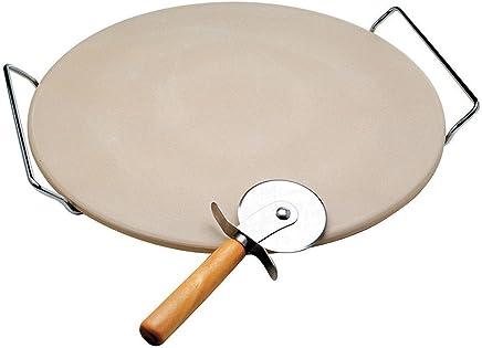 Pedra para Pizza Bon Gourmet com Suporte Cromado e Cortador 33 cm