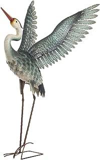 Chisheen Metal Heron Garden Statue and Sculpture Outdoor Large Metal Flying Bird Heron Decoy Crane Statue for Yard Lawn Patio