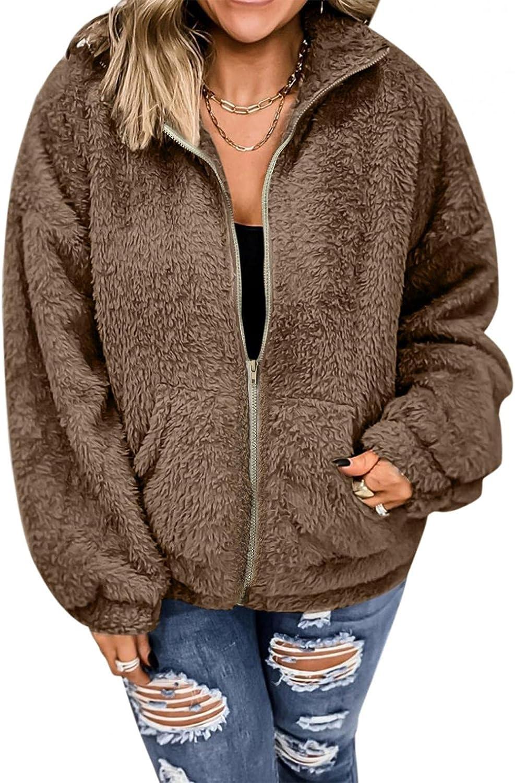 HCNTES Women Long Sleeve Zipper Hooded Sweatshirts Faux Fur Warm Winter Oversize Pockets Lapel Outwear Jacket