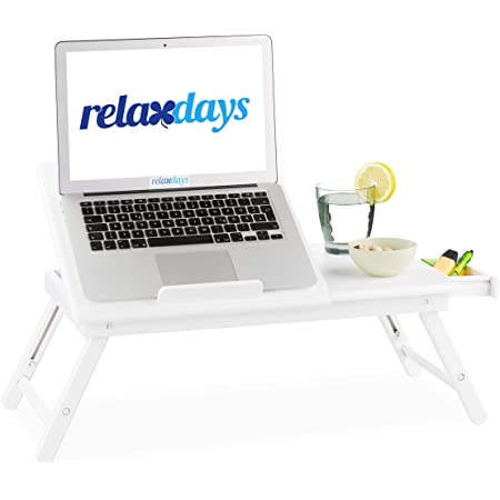 Relaxdays Bambus Laptoptisch Höhenverstellbarer Laptopständer Für Bett Und Sofa Mit Schublade Hbt 24x60x35cm Weiß Größe Küche Haushalt