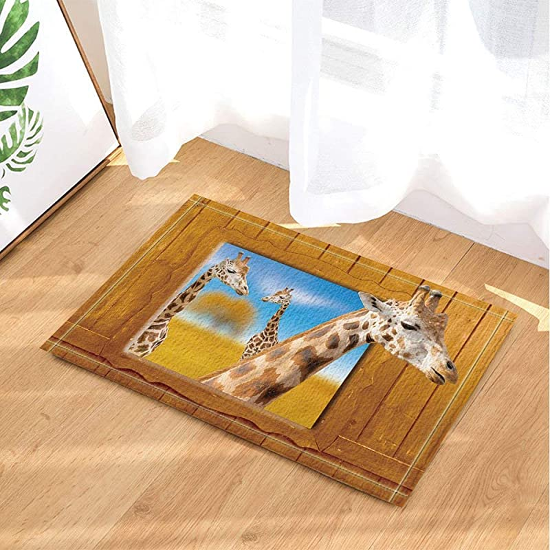 ZHANGSHUQI Blue Sky Yellow Wooden Board Yellow Leaves White Giraffe With Yellow White Spots Bathroom Mat Right Angle Non Slip Door Pad Children 40X60CM