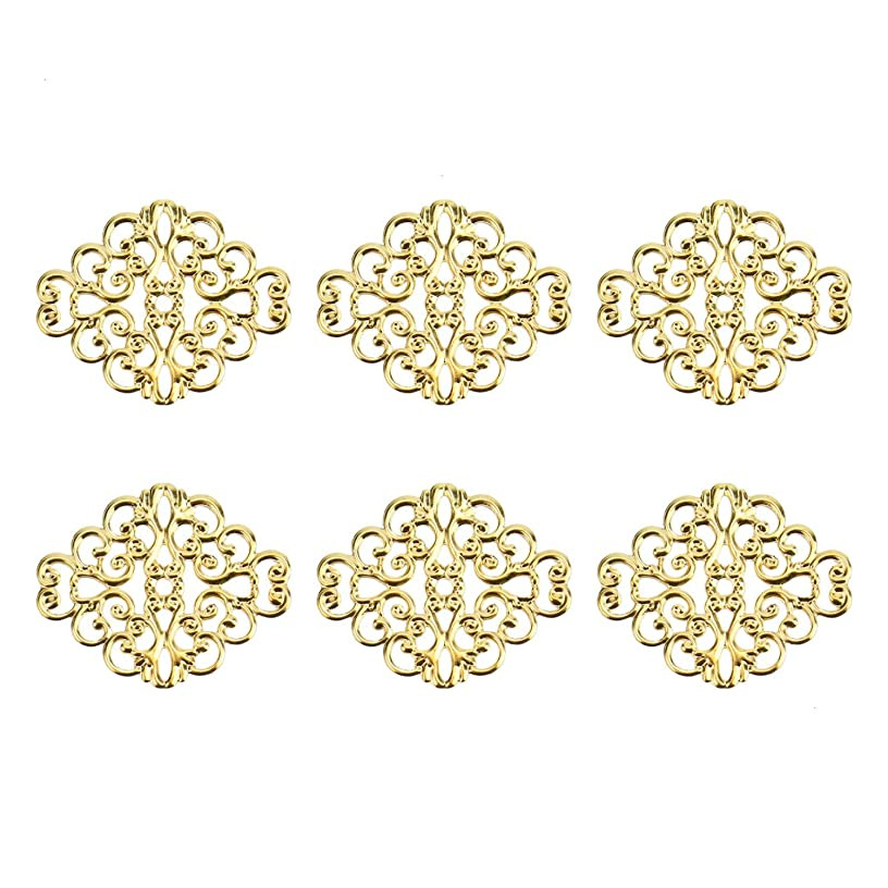 Monrocco 100 PCS Gold Hollow Filigree Flower Wrap Connector 30 x 37mm Metal Hollowed-Out Rhombic Pendant Connector for Crafting