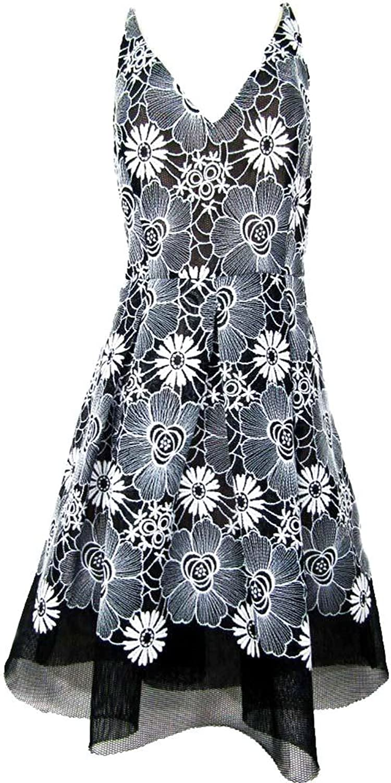 Belle Badgley Mischka Women's Floral Mesh Overlay Fit & Flare. Size 2 Black, Ivory