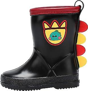 حذاء مطر للأطفال الصغار من dripdrop مقاوم للماء سهل الارتداء حذاء ويلي للبنات والأولاد (الأطفال الصغار/الأطفال الصغار) أسود