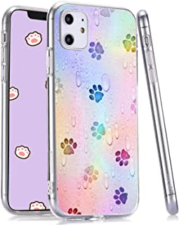 LuGeKe Cute Dog Paws Print Phone Case for iPhone 7 Plus/iPhone 8 Plus Silicone Cases Little Drops of Water Pattern Cover Shock Absorption Flexible Skin Frame