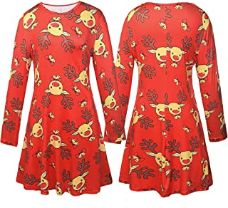 8996d174ba Lurryly❤Christmas Family Matching Long Sleeves Dress Women Kids Girls Children  Family Clothes