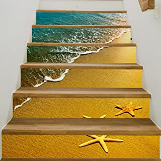 zhiyu&art decor 3D Stair Decals Stickers-Landscape Stair Risers Stickers Removable Staircase Decals Stickers Waterproof Mural Wallpaper for Home Decoration 6Pcs/Set