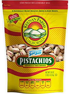 Keenan Farms Salted Pistachios - 1 lb Bag - Naturally Tree Opened Roasted Pistachios - Kosher - Resealable ...