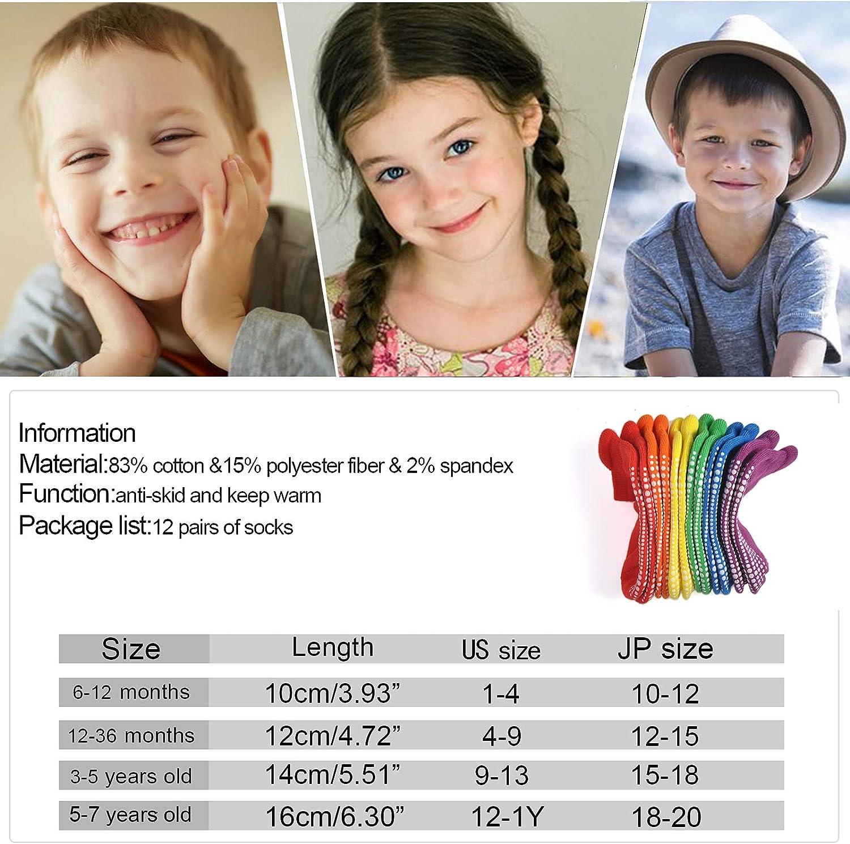 EPEIUS Baby Socks Toddler Non-slip Socks Thick Cotton Ankle Socks with Grips Kids Boys Girls 6/12 Pack