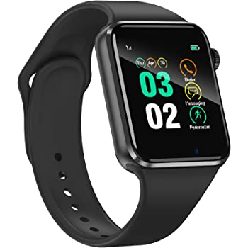 Smart Watch for Android Phones iPhone Compatible for Women Men - Aeifond Bluetooth Touch Screen Smartwatch Fitness Tracker with Camera Step Calorie Counter Sleep Monitor SIM SD Card Slot (Black)