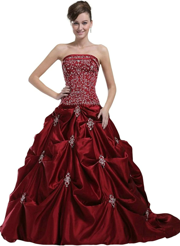 Vantexi Women's Embroidery Burgundy Wedding Dress Bridal Gown