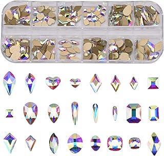 240pcs Popular 12 Styles FlatBack Crystals Mix Sizes Multi Shapes Glass Crystal AB Rhinestones For Nail Art Craft 3D Decor...
