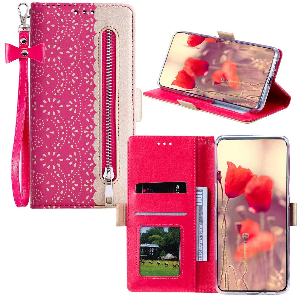 JZ [Splicing Lace[Zipper] para For Samsung Galaxy Note10+ Plus/Note10 Pro/Note10+ Plus 5G PU Leather Wallet Flip Funda Cover with Wrist Strap: Amazon.es: Electrónica