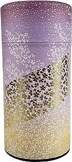 Japanese tea canister tin Oboro/Yuzen paper/double lid/air-tight / 200g tea capacity