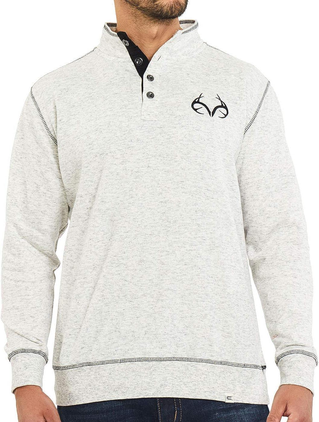 Realtree Men's 1/4 Zip White Edge Camo Pullover Fleece Sweater Jackets Quarter Zip (White Button Up, S)