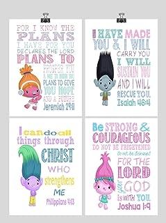 Trolls Inspirational Nursery Art Set of 4 Prints - Poppy, Dj Suki, Creek and Branch