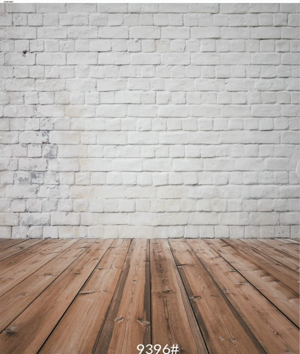 4X6FT-Retro White Brick Wall Photography Backdrops Brown Wood Floor Photo Studio Background