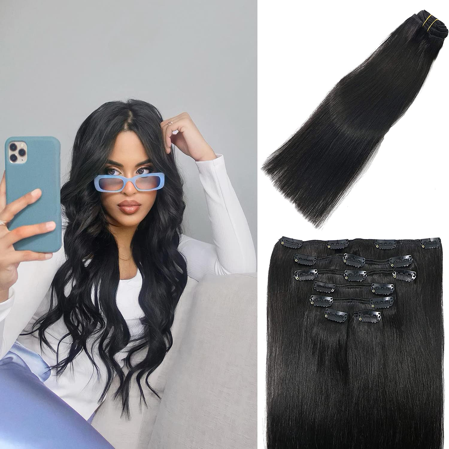 ALLBIZ Clip in Human Hair Extensions Extensio Natural Free shipping Black sale