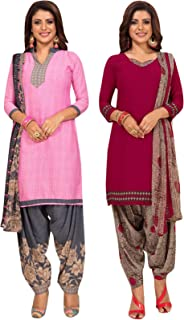 S Salwar Studio Women's Pack of 2 Synthetic Printed Unstitched Dress Material Combo-MONSOON-2862-2885