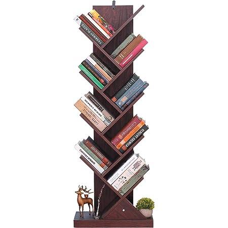 Himimi Librería de 9 niveles, vintage estantería libros con forma de árbol, estantería de madera para librería, cafetería, salón, hogar, sala de estar ...
