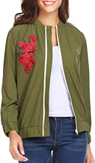 SoTeer Womens Classic Quilted Jacket Embroidered Zip Up Short Bomber Jacket Coat