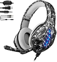 YJY J1 Gaming Headset for PS4,PC, Xbox One Controller,Noise Cancelling Over Ear Headphones with Mic, 7 Colors LED Light, B...