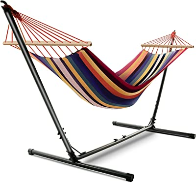 Kerrogee 32 Inch Cotton Double Hammock, Adjustable Hammock Bed with Steel Stand,Hard Wood Construction, Easy Installation