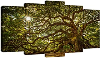 Welmeco Large Canvas Wall Art Old Angel Oak Tree Picture Prints Gallery Wraped 5 Pieces Landscape Canvas Artwork for Living Room Decoration Modern Framed and Stretched Nature Canvas (W-60xH-32)