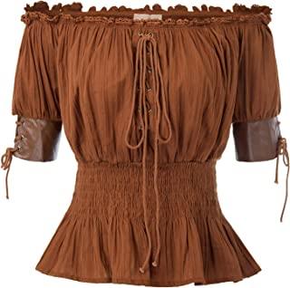 Women's Steampunk Victorian Blouse Half Sleeve Boho Off Shoulder Peasant Tops
