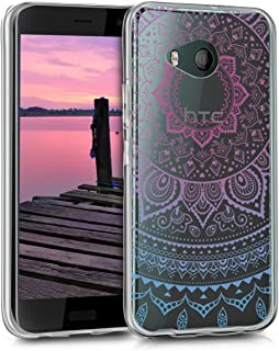 kwmobile TPU Silicone Case for HTC U11 Life - Crystal Clear Smartphone Back Case Protective Cover - Blue/Dark Pink/Transparent