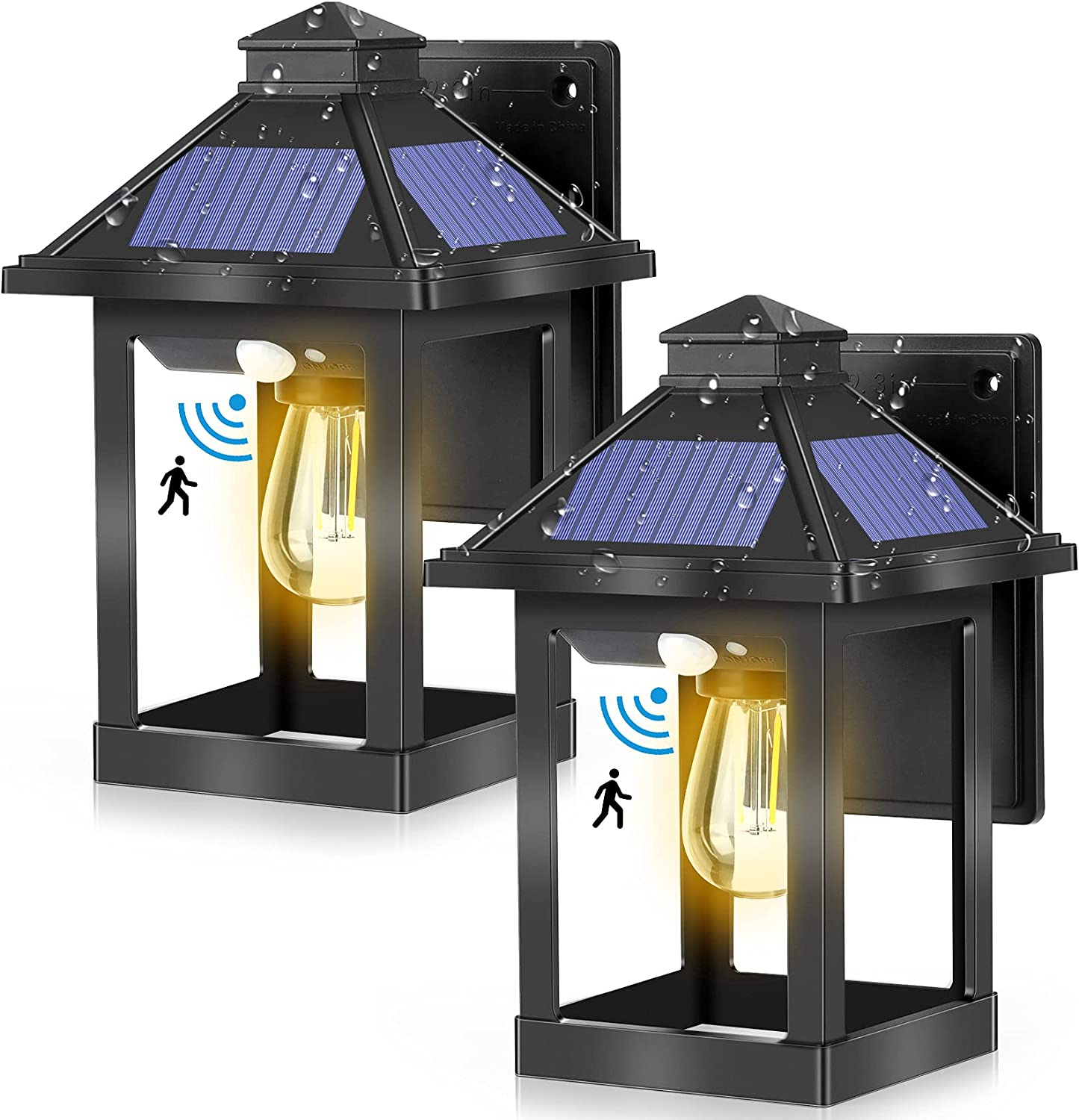 Max 89% OFF 2 Pack Solar Outdoor Wall Lanterns with Sensor Upgrade D Motion Detroit Mall