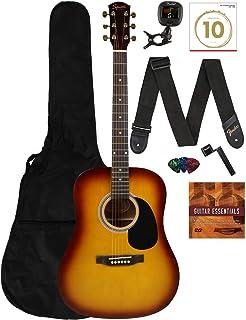 گیتار آکوستیک Fender Squier Dreadnought - بسته نرم افزاری یادگیری-بازی Sunburst با کیف Gig ، تیونر ، بند ، تارها ، انتخاب ها ، سیم پیچ ، Fender Play و DVD آموزشی آستین بازار