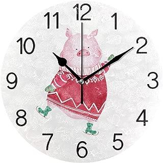 Chovy 掛け時計 置き時計 北欧 おしゃれ かわいい サイレント 連続秒針 壁掛け時計 インテリア 豚 豚柄 かわいい おもしろ 部屋装飾 子供部屋 プレゼント