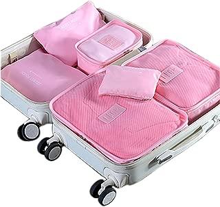 Styleys Baby Pink Polyester Blend Travel Make Up Organizer(6pcs/1set)