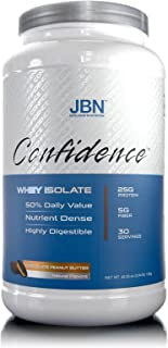 Confidence by JBN 100% Whey Isolate Protein Powder Mix - 5 Grams of Fibersol - Great Tasting - Easily Digestible - High Purity & Potency - Great for Weight Management (Chocolate, 30 Servings)