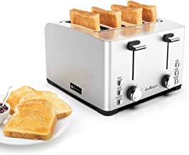 Toaster, Laukingdom Toasters 4 Slice Best Rated Prime, Top Rated Stainless Steel with Stop /Bagel /Defrost Function,Extra Wide Slots, 1500W Silver